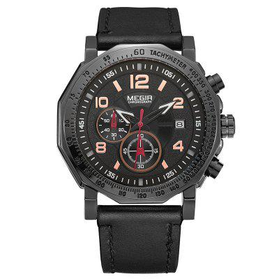 Orologio militare Megir Men Sport Fashion Leather Strap Chronograph