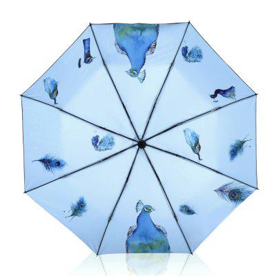 Creative Peacock Print Anti UV Folding Umbrella Outdoor Sunshade