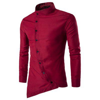 Men's Fashion Personality Oblique Button  Stand Collar Long Sleeve Shirt