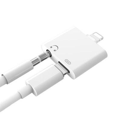 2-in-1 3,5 mm audio-hoofdtelefoonadapter voor iPhone X / 8/8 Plus / 7