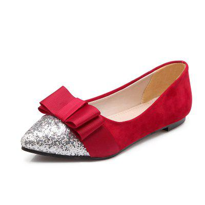 Shiny Spliced Bow Tie Casual Womens Shoes