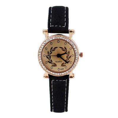 Multicolor PU Leather Wristband Mineral Glass Wrist Watch for Women