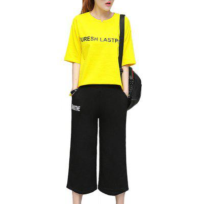 Letter Loose Casual Seven Point Pants Sports Suit