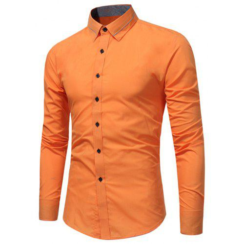 bc4b7143dca Men S Fashion Business Dress Long-Sleeved Shirt Tide Men S Solid Color Wild  Slim