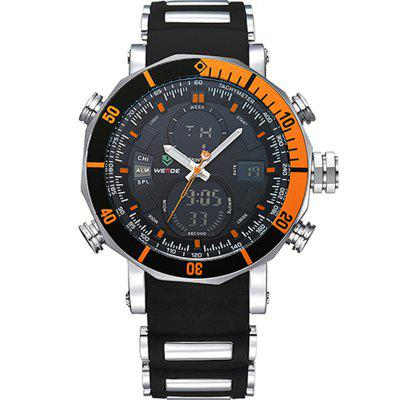 WEIDE Männer Luxury Fashion Double Time Chrono Wasserdichte Kautschukband-Sportuhr