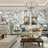 White Relief Image of Turtle Leaves and Fan Leaves Wallpaper Wall Sticker Mural - NATURAL WHITE