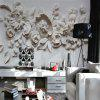 White Embossed Flower Picture Wallpaper Wall sticker Mural - NATURAL WHITE
