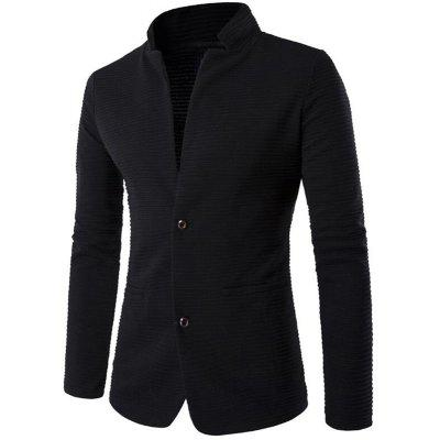 Men's Casual Blazer Patch Design Stand Collar Long Sleeve Suit