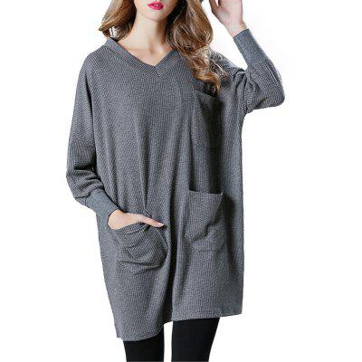 Solid Color Loose Casual Knitted Long Sleeve Dress