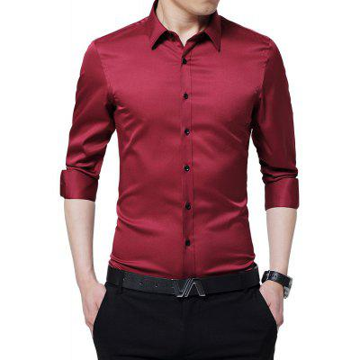 Men's Fashion Slim Plus Size Long-sleeved Shirt