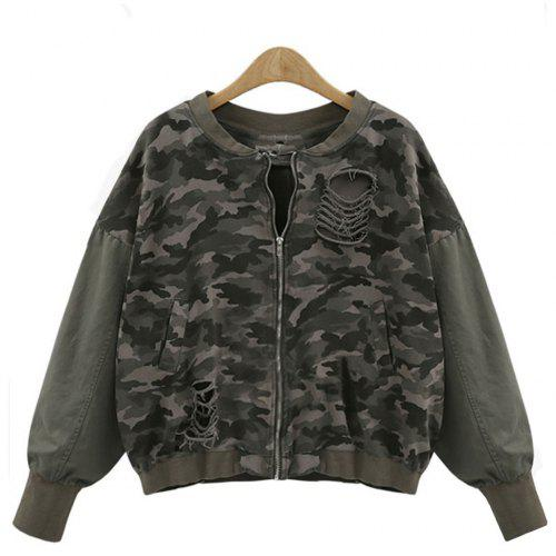 27f89e997fcab Women's Casual Wash Water Hole Sleeves Color Camouflage Jacket | Gearbest
