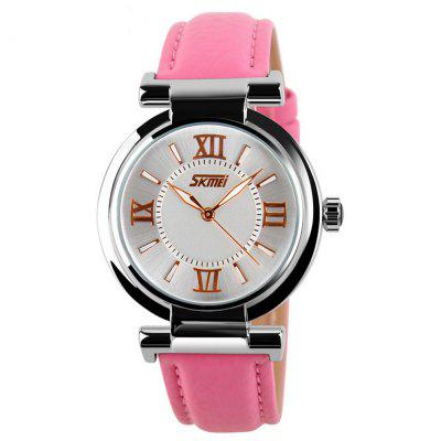 Skmei Women Luxury Brand Quartz Leather Strap Ladies Wrist Watches