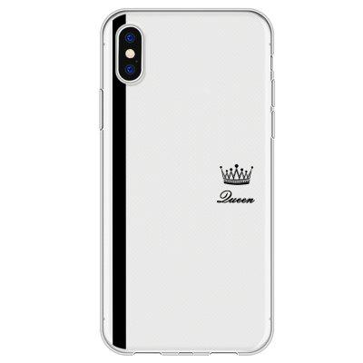 Black Striped Queen Crown Transparent Soft Case for iPhone X