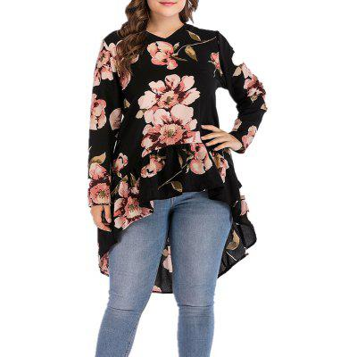 Long Sleeve Printed Floral Plus Size Shirt