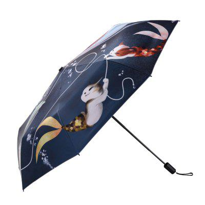 Cat and Fish Catoon Print Anti UV Folding Umbrella Outdoor Sunshade