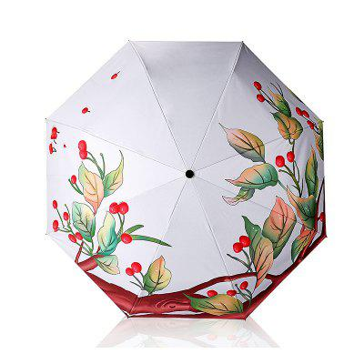 Fruit Tree Catoon Print Anti UV Folding Umbrella Outdoor Sunshade
