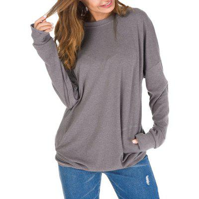 Solid Color Pocket Pullover Long Sleeve T Shirt