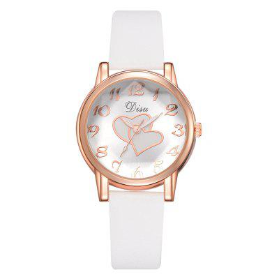 Disu DS148 Women Love Print Dial PU Leather Quartz Watch