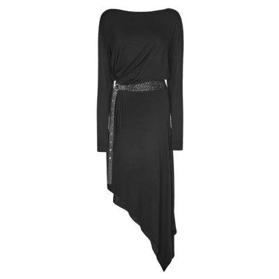 Snakeskin Belts Asymmetric Black Dress