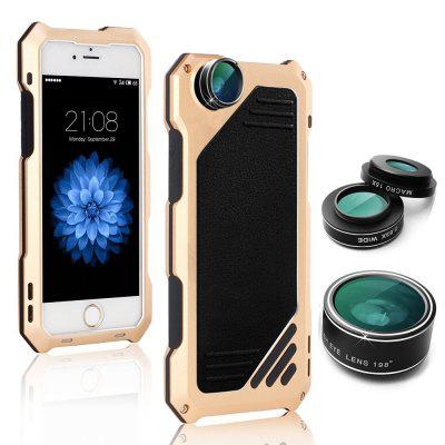 Water-Resistant Shockproof Metal Case Back Cover with 3 Camera Lens for iPhone 6