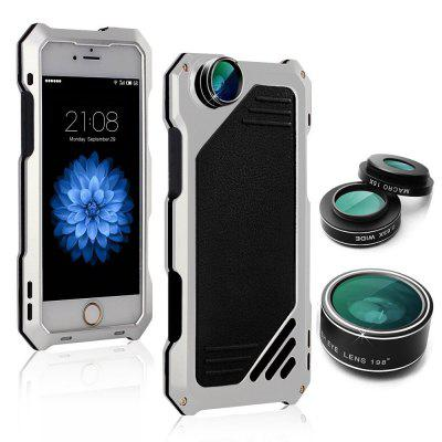 Water-resistant Metal Case Back Cover with 3 Camera Lens for iPhone 6 Plus