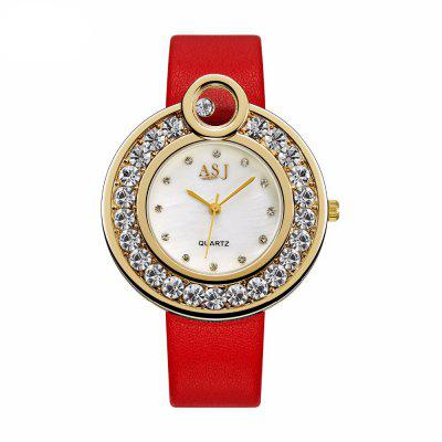 ASJ Luxo com Diamante Artificial Decoração Waterproof Ladies Watch