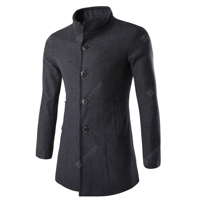 Men's Stylish Fashion Classic Single Breasted Woolen Peacoat