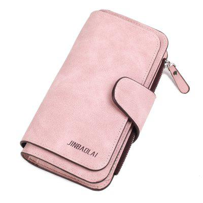 JINBAOLAI Long Section Frosted Fabric Three-fold Ladies Fashion Wallet