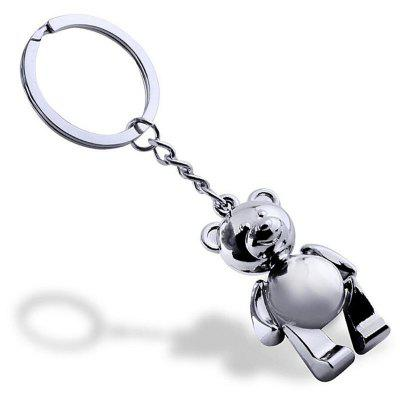 Personality Creative Metal Movable Bear  Keychain