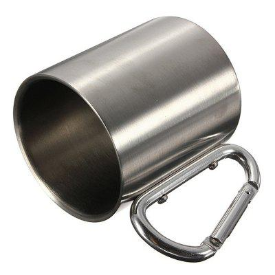 220ML Stainless Steel Camping Traveling Metal Outdoor Cup Carabiner