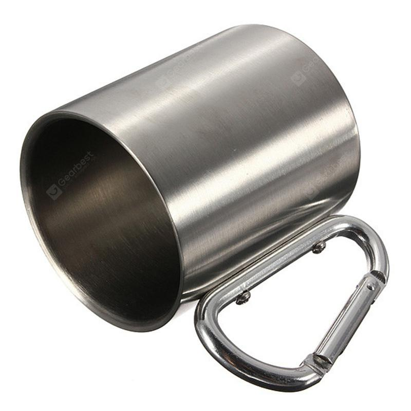 220ML Stainless Steel Camping Traveling Metal Outdoor Cup Carabiner - SILVER
