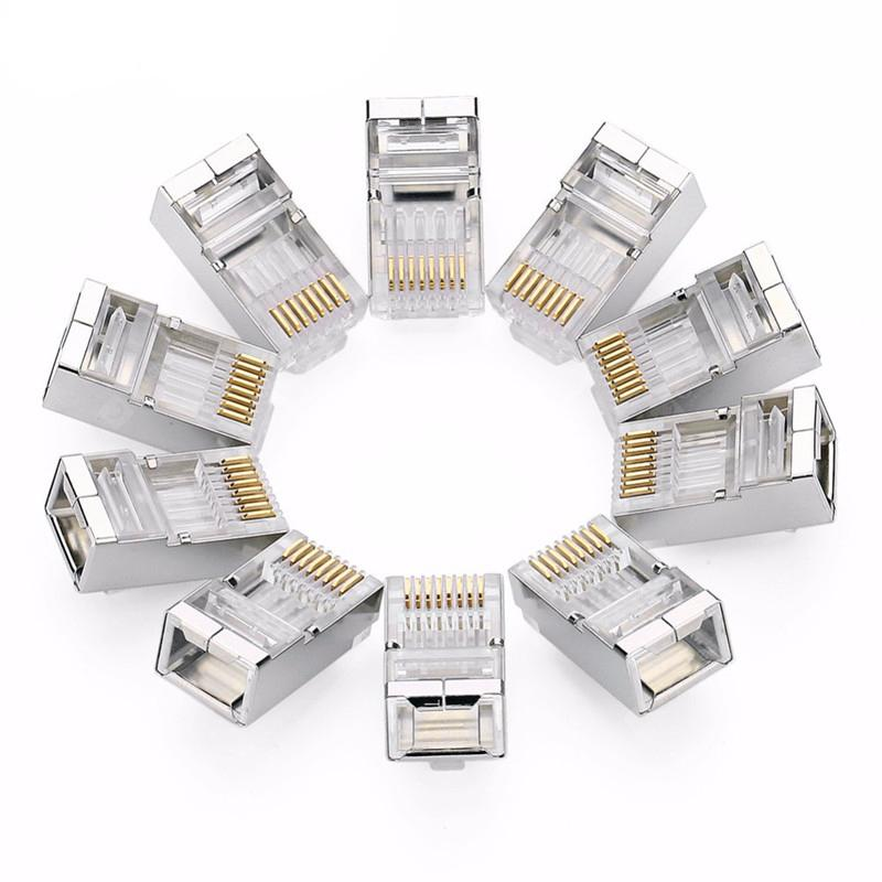 10PCS Connector 8P8C Modular Ethernet Cable Head Plug - TRANSPARENT