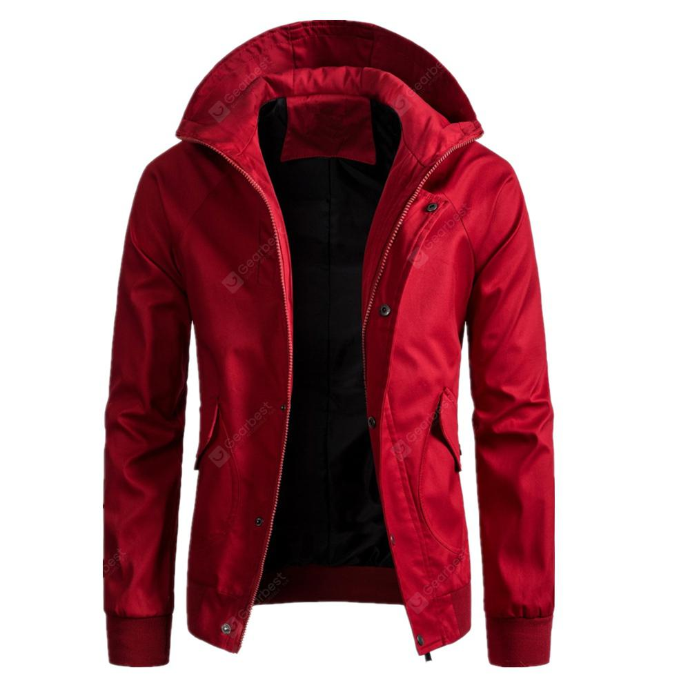 Winter Men'S Solid Color Jacket Casual Hooded Coat - RED L 281837409