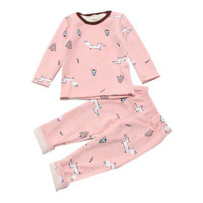 Children's Wear Baby Girl Long Sleeved Suit Cartoon Home Clothes