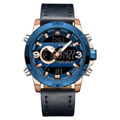 NAVIFORCE Luxury Brand Men Analog Digital Leather Relojes deportivos