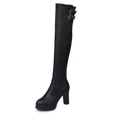 High Heel Thick Bottom Water Resistant Table Slim Knee Spandex Boots