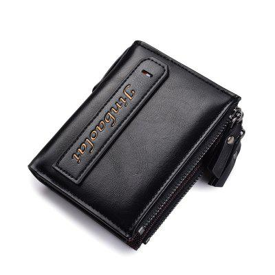 JINBAOLAI Multi-function Double Zipper Casual Men Wallet