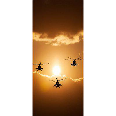 MailingArt 3D HD Canvas Print Door Wall Sticker Mural Home Decorare Elicopter