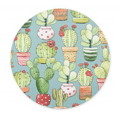 Cactus in The Pattern of Circular Non  Slip Plastic Mouse Pad