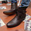 Men's High-Top Leather Shoes - BROWN