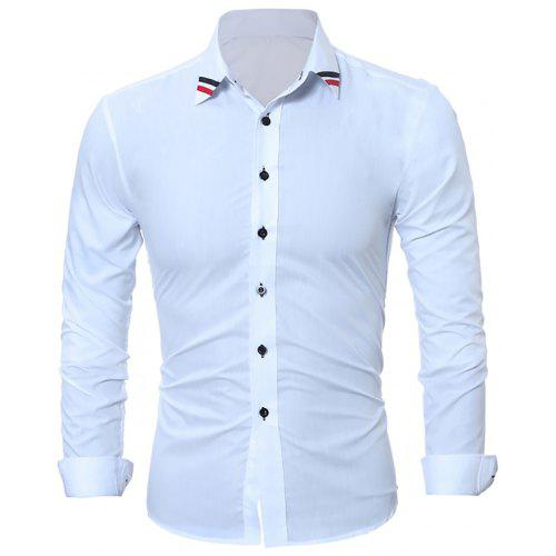 153d8841556 Fashion Classic Solid-Color Ribbon Men s Casual Long-Sleeved Shirts ...