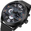 MINI FOCUS Men's Fashion Sport Watch with Stainless Steel Round Dial Leather - BLACK