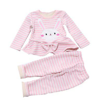 Baby Long Sleeves 2 Set of Cartoon Striped Rabbit Pattern Baby Pants Home Suite