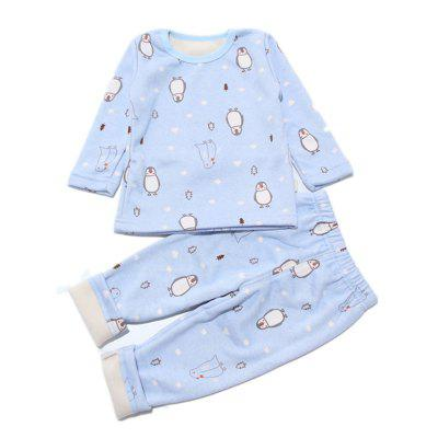 Baby Pants Suit 2 Piece Penguin Pattern Long Sleeved Home Clothes
