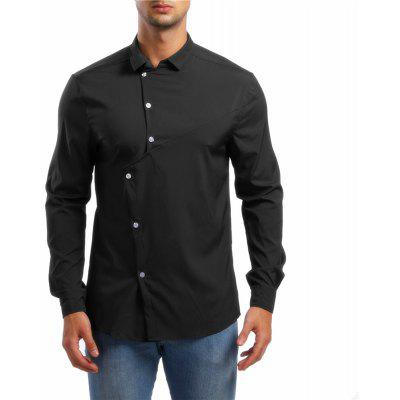 Men's Asymmetrical Lapel Long Sleeve Shirt