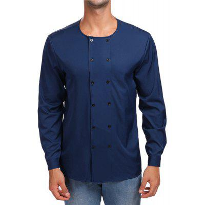Men's Double Breasted Round Neck Long Sleeve Shirt