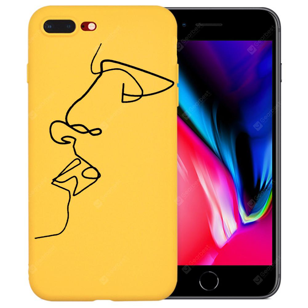Line Drawing Abstract Art Kiss Yellow Tpu Silicone Phone Case For 2in1 Gravity Full Cover Tempered Glass Iphone 6 Plus 7 000 Free Shipping