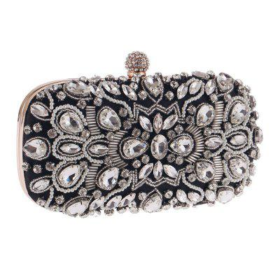 Women Handmade Noble Crystal Beaded Evening Bag Wedding Clutch Purse