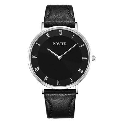 POSCER Men Quartz Waterproof Belt Contracted Classic Couples Watch 50053