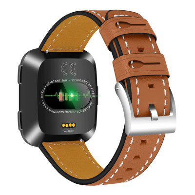 Fitbit Versa Bands Leather Genuine Strap with Stainless Steel Buckle Strap
